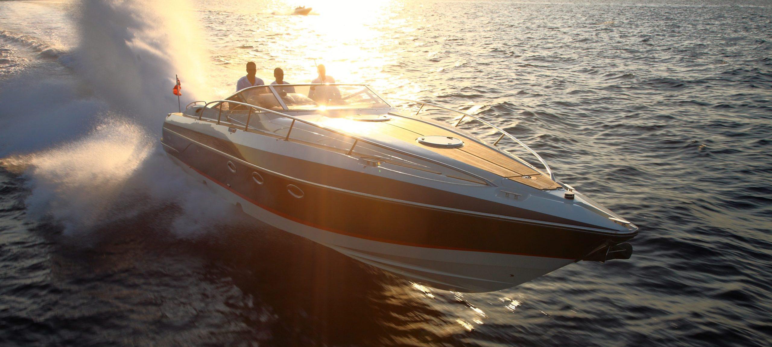 Hunton powerboat cruising at sunset