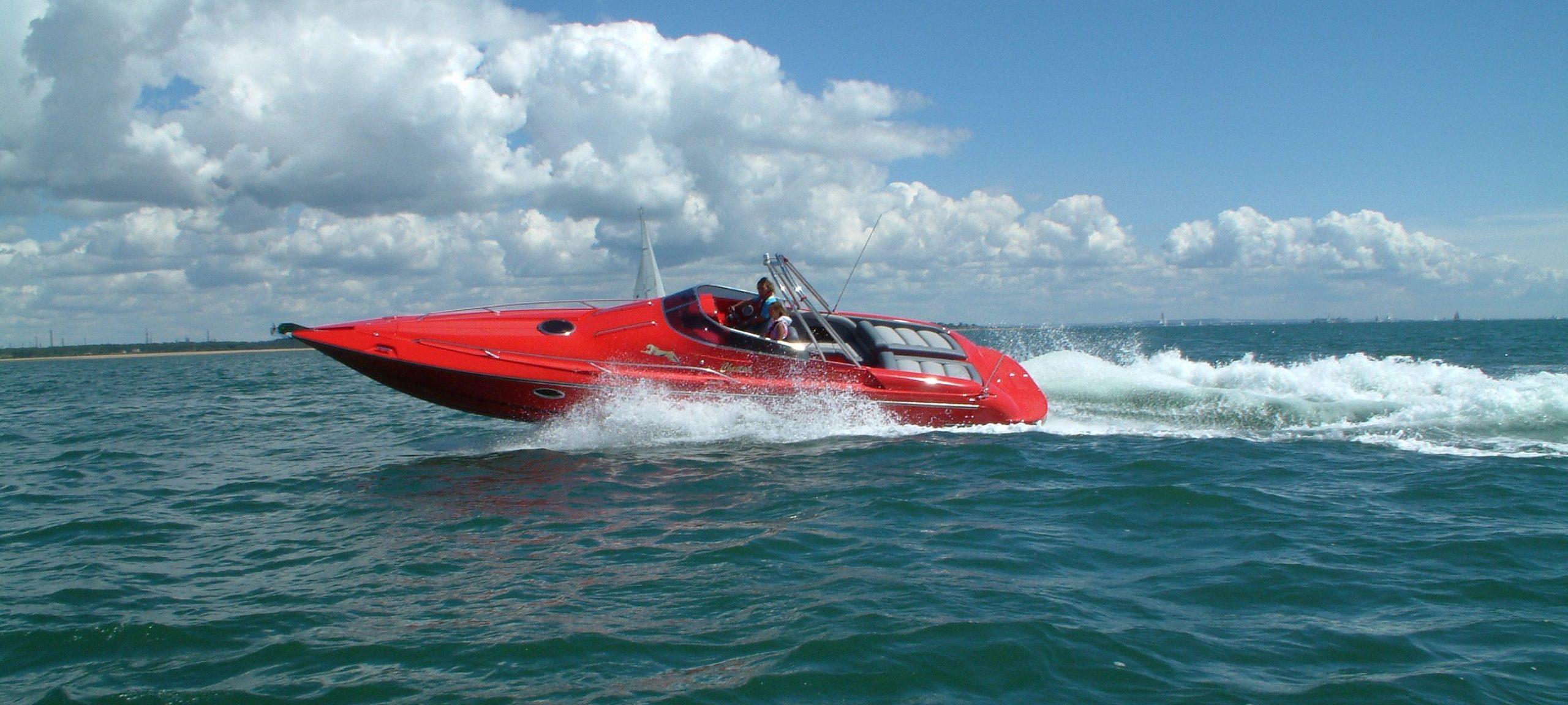 red hunton powerboat in open water